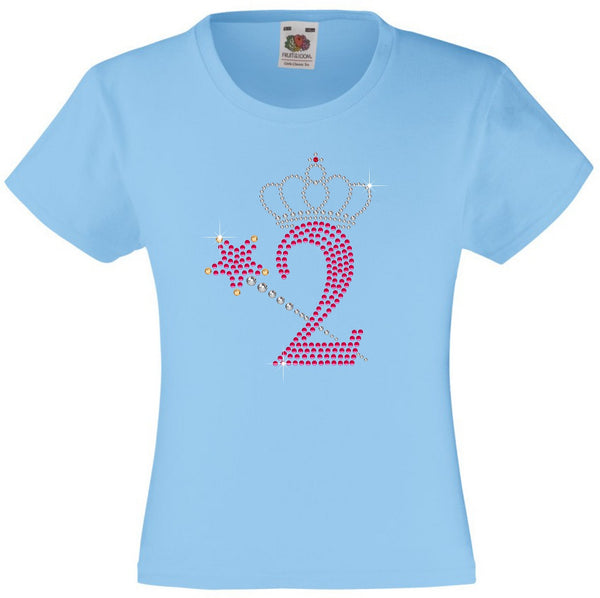 NUMBER 2 WITH CROWN & WAND GIRLS T SHIRT, RHINESTONE EMBELLISHED BIRTHDAY T SHIRT, ELEGANT GIFT FOR THEIR BIG DAY