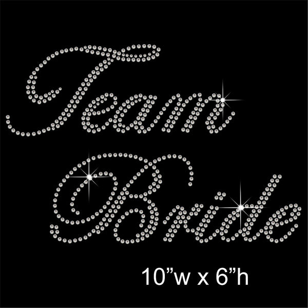Team Bride Hotfix Rhinestone Transfer Diamante Motif, Iron-on Applique
