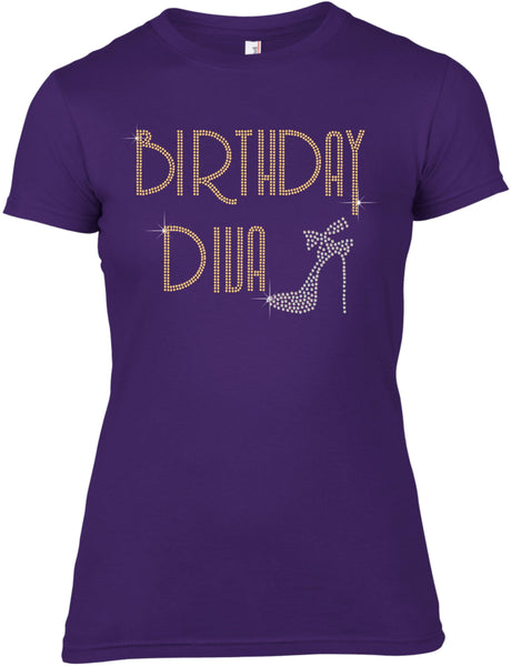 BIRTHDAY DIVA RHINESTONE EMBELLISHED T SHIRT FOR LADIES