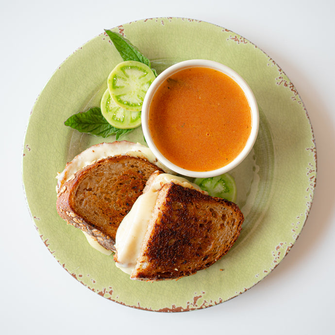 Vegan Tomato Minestra & Next Level Grilled Cheese