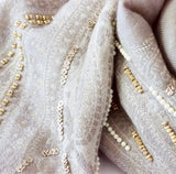 Shores | Hand Beaded | Beige Pearl Merino Women's Designer Wrap