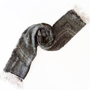 Dusk | Hand Beaded | Grey Silver Merino Women's Designer Wrap