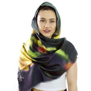 Warm Glow | Pure Silk Womens Floral Scarf - Silk Scarf