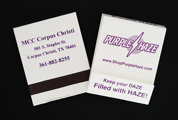 Custom matchbooks printed with logo or message restaurant matchbooks purple on white custom matchbooks starting at 12995 colourmoves