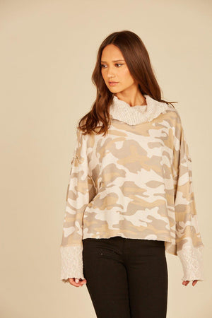 Camel Cowl Neck Camo Sweater