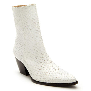 Caty White Snake Bootie