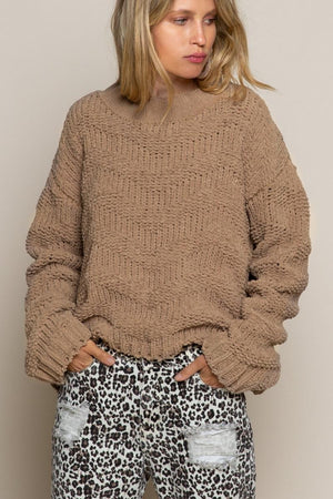 Chevron Chenille Knit Sweater