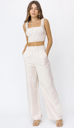 Elastic Waist Wide Pants