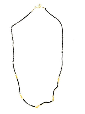 Gold Ball Black Chain Necklace