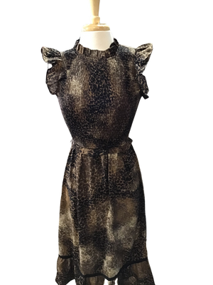 Leopard Smocked Midi Dress