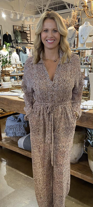 Long Sleeve Printed Jumpsuit