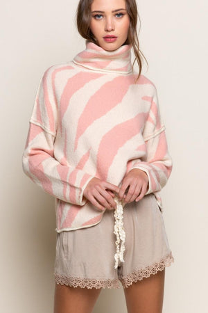 Pink Zebra Turtleneck Sweater