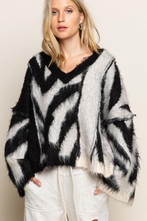 Zebra V-Neck Sweater