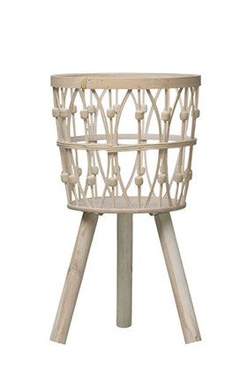 "22""H Bamboo Wood Baskets w/ Legs, Whitewash"