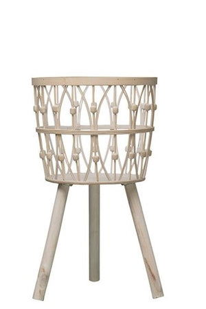 "25-1/2""H Bamboo Wood Baskets w/ Legs, Whitewash"