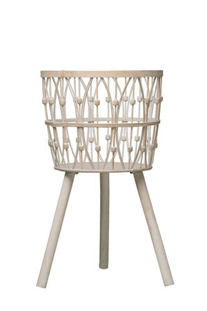 "29-1/2""H Bamboo Wood Baskets w/ Legs, Whitewash"