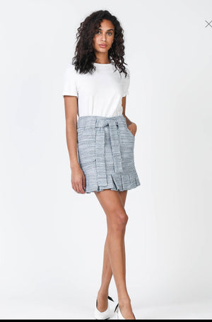 Pleated Hem Tweed Mini Skirt
