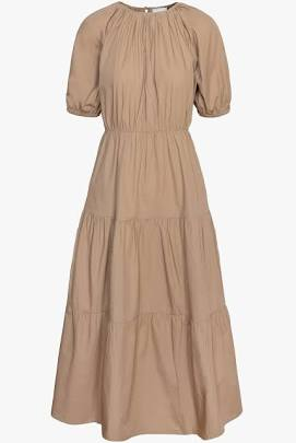 Donna Poplin Tiered Midi Dress