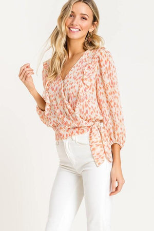 Printed Ruffle Wrap Top