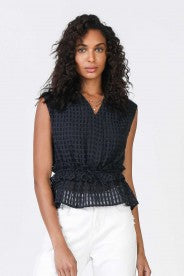 Navy Woven Top With Elastic Waist