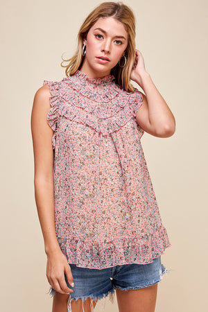 Floral High Neck Sleeveless Top