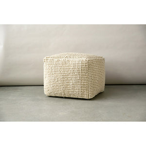 "24"" Sq x 16""H New Zealand Wool & Cotton Pouf"