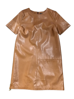 Short Sleeve Faux Leather Dress