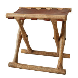 Foldable Leather Stool with Acacia Wood Frame