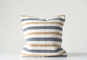 "20"" Square Cotton Woven Striped Pillow"