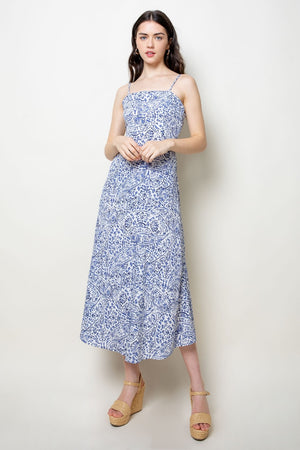 THML Printed Spaghetti Strap Midi Dress