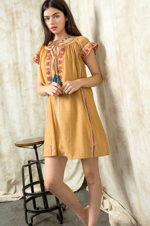 THML Smocked Embroidered Dress