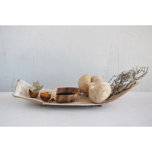 "26""L x 9-1/2""W x 4-1/2""H Dried Natural Palm Leaf & Coconut Husk Tray w/ Wood Feet"