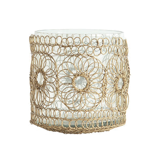 "4-3/4"" Round x 4-1/4""H Hand-Woven Wire Votive Holder w/ Glass Insert, Brass Finish"