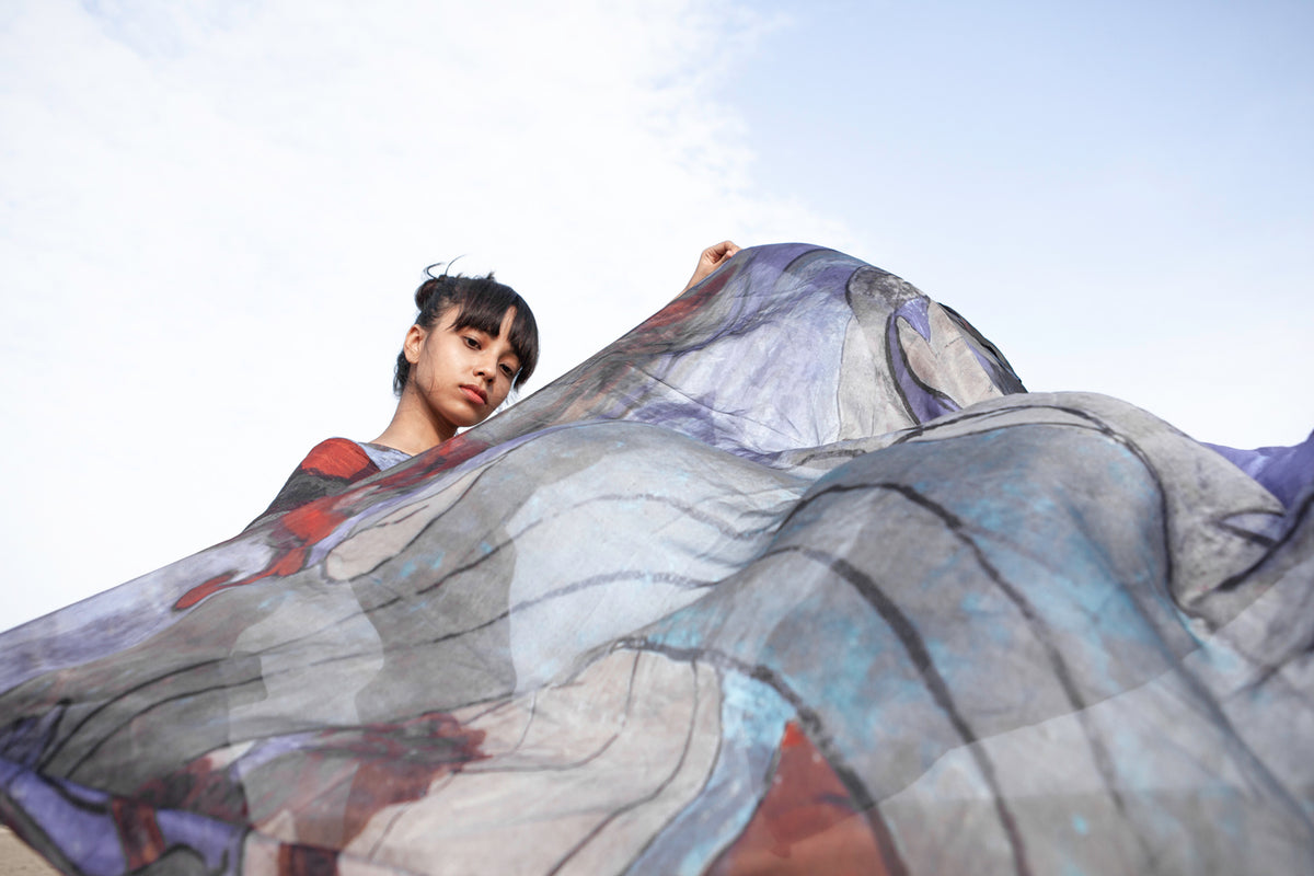 Silk Scarf for the Wind - Blue