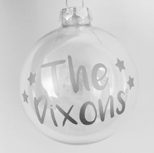 Personalised with Name - Christmas Glass Bauble