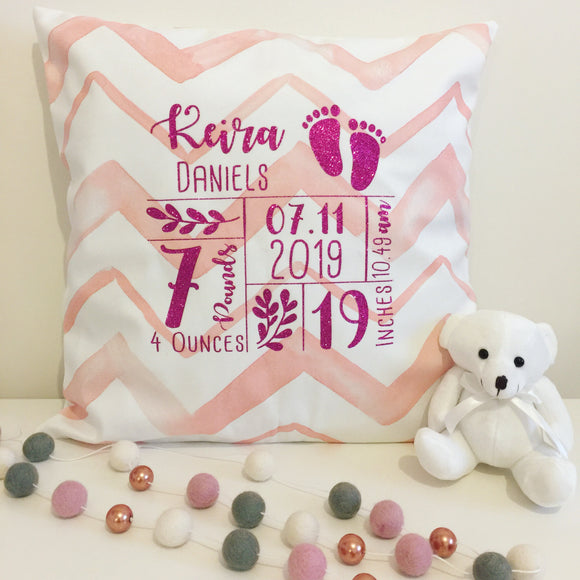 Baby Girl Personalised Birth Stats Cushion
