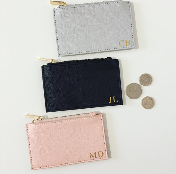 Personalised Initials Coin Purse & Card Holder