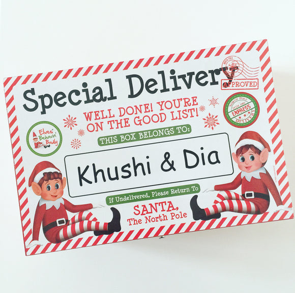 Personalised Wooden Elf Christmas Eve Box