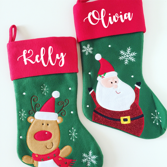 Personalised Green and Red Stocking