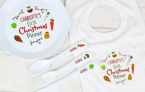 Personalised 'First Christmas' Set - Dinner Plate, Cutlery Set & Bib