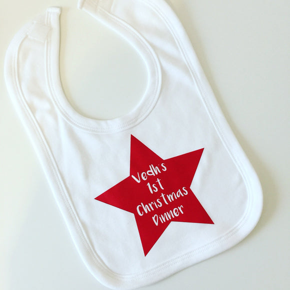 Personalised Star 1st Christmas Dinner Bib