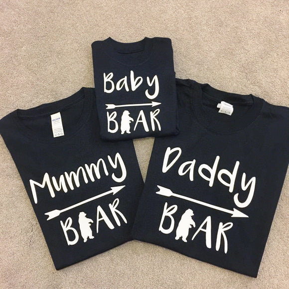 Set of 3 personalised family t-shirts - Mama Bear, Papa Bear, Baby Bear