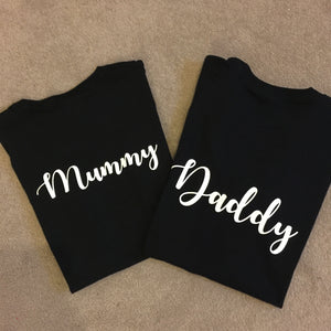 Personalised Mummy Daddy T-shirt Set - New Mum New Dad