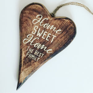 Personalised Wooden Heart Home Sweet Home Door Sign Plaque