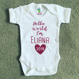 Personalised 'Hello World' Babygrow