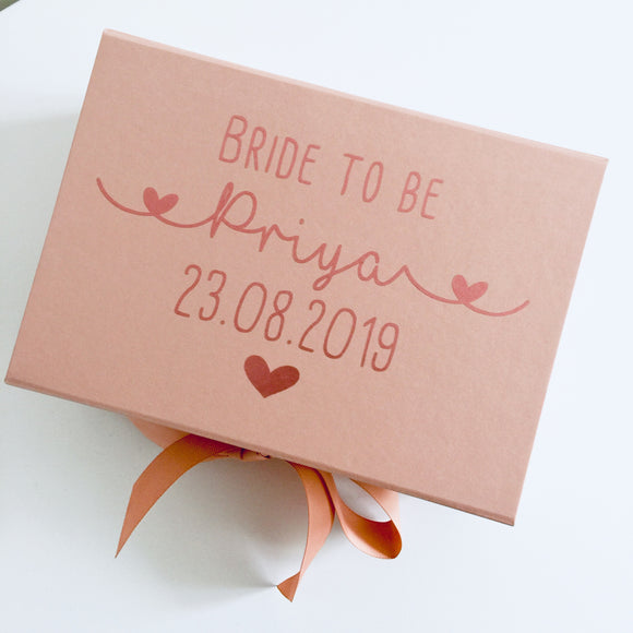 Personalised Rose Gold Bride to be Gift Box