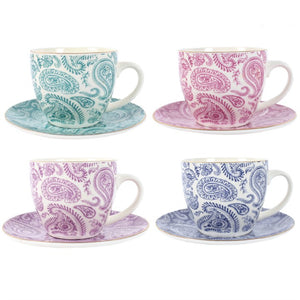 Set of 4 Indian Ocean Teacups & Saucers