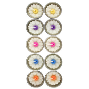 Pack of 10 White Daisy Tea Light Candles with Coloured Centre