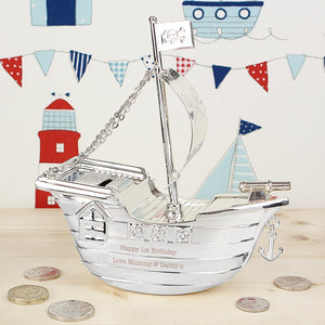 Personalised Pirate Ship Money Box