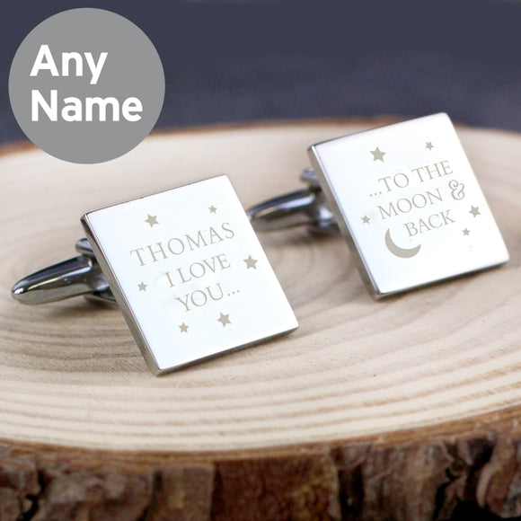 Personalised To the Moon and Back Square Cufflinks - Father's Day - Birthday